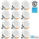 12 PACK 4 inch Dimmable Recessed LED Downlight, 12W (85W Equivalent), ENERGY STAR, 5000K Daylight, 850lm, Retrofit LED Recessed Lighting Fixture, 5 YEARS WARRANTY