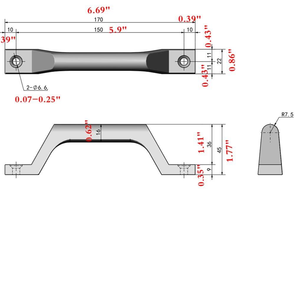 Stainless Steel Handle Construction Durable High-grade arc Door Handle (170mm/6.69'')