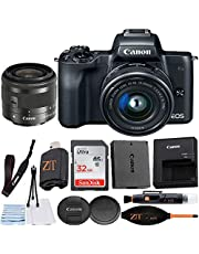 $629 » Canon EOS M50 Mirrorless Digital Camera 24.1MP with EF-M 15-45mm f/3.5-6.3 is STM Lens + ZeeTech Accessory Bundle, SanDisk 32GB Memory Card (Black)