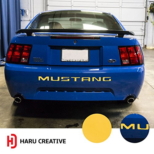 (Haru Creative - Rear Bumper Trunk Letter Insert Overlay Vinyl Decal Compatible with and Fits Ford Mustang 1999 2000 2001 2002 2003 2004 - Matte Yellow)