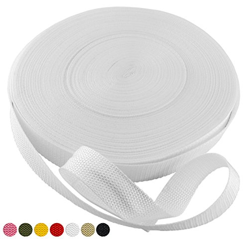 "White Polypropylene Webbing 50 Yards x 1-inch; 1"" Wide Polypro Strap Webbing; Great for Bags, Outdoor Gear; Collars, Leashes, Halters, Sporting Gear & More (Polypro Bags)"