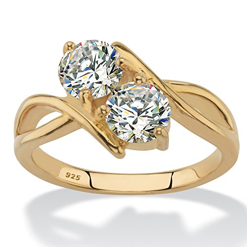 14K Yellow Gold over Sterling Silver Round Cubic Zirconia 2-Stone Bypass Ring Size 7 -