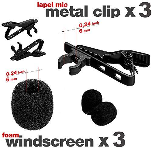 Lavalier Microphone Clip & Foam Windscreen Cover - 3 Pack, Lapel Mic Clip, Lav Mic Clip