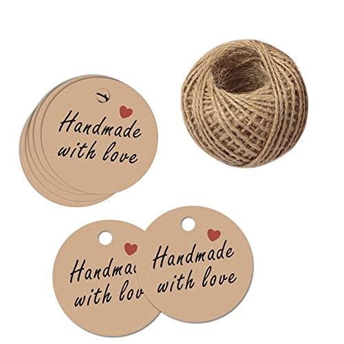"G2PLUS 100 PCS Brown Kraft Hang Tags 'Handmade with love' Printed Tags 1.7"" Round Tags with 100 Feet Natural Jute Twine"