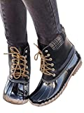 Ivay Women's Lace Up Stitching Combat Waterproof Duck Rain Boot Outdoor Shoes