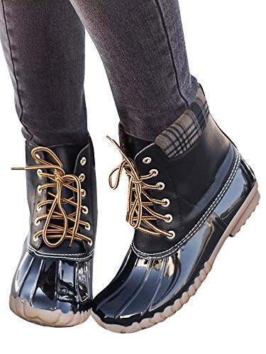 Rain Boots Wide Waterproof Winter Shoes black Womens Heel Calf Lace Warm Snow 1 up Low Duck ItwxI70Cq