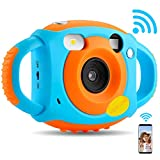 AMKOV WiFi Kids Camera,1080P HD Digital Anti-Drop Children Camera Camcorders with 1.77 Inch LCD Display,5 MP Rechargeable Camera with Continuous Shoot,Creative Birthday Gifts for Kids