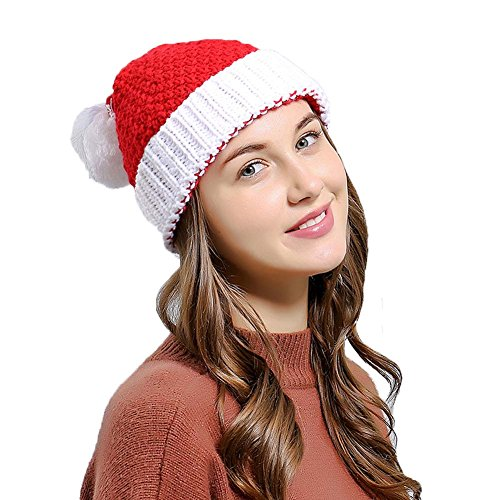 Women Christmas Beanie Hat Winter Warm Knitted Crochet Santa Hat Gift (Santa)