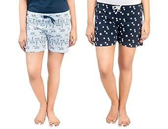A9- Women Regular Shorts (Pack of 2) (WSCOM_316_M_Multicolored_Medium)