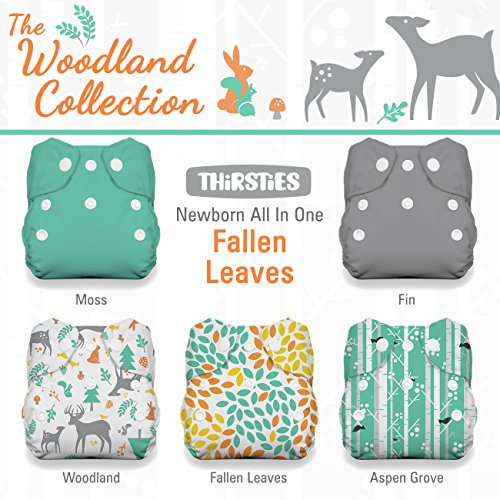 Thirsties Aio - Thirsties Package, Snap Newborn All In One, Woodland Collection Leaves