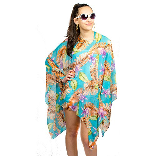 AN - Palm Leaves Beach Tunic Cover Up Poncho Dress Top (Teal Blue)