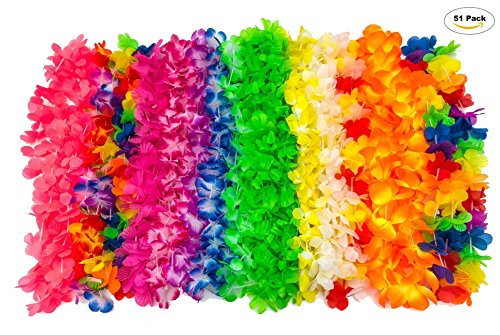Bliss List 51 Counts Hawaiian Lei Hawaii Tropical Beach Party Decorations Premium Hawaii Flower Necklace Luau Tiki Party Favors (51 Hawaiian (Birthday Party List)