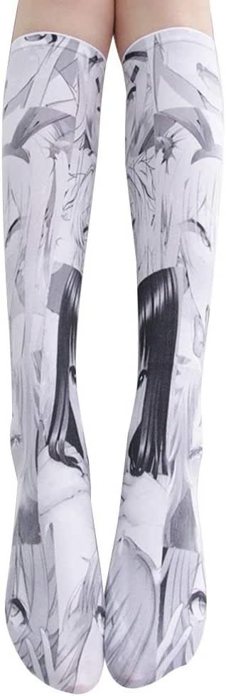 Knee High Socks Anime Cosplay 3D Print Kawaii Tight Long Stockings Hosiery