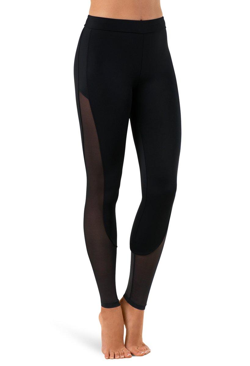 Balera Leggings Girls Pants for Dance with Mesh Ankle Length Bottoms Black Child Large by Balera