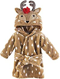 Soft Plush Bathrobe, Girl Reindeer, 0-9 Months