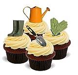 NOVELTY GARDENING / GARDENER'S TOOLS MIX - Standups 12 Edible Standup Premium Wafer Cake Toppers - 2...
