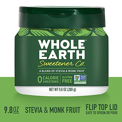 WHOLE EARTH SWEETENER CO. Stevia & Monk Fruit Blend, Erythritol Sweetener, Sugar Substitute, Natural Sweetener, 9.8 Ounce Jar