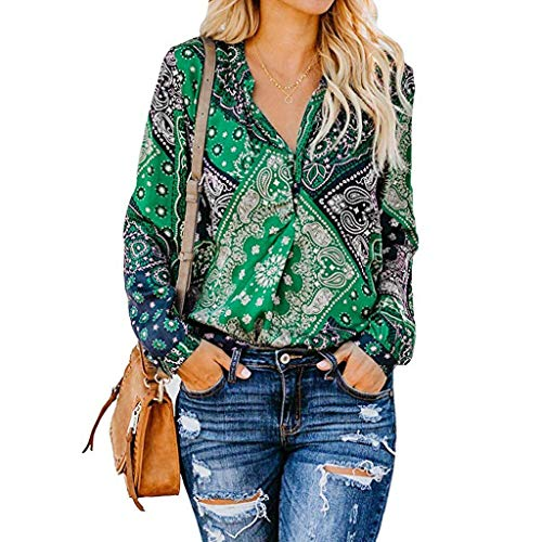 Eyelets Piece 12 (Women's Tops Floral Print V Neck Blouses Long Sleeve Shirts Casual Loose Blouses Tops Green)
