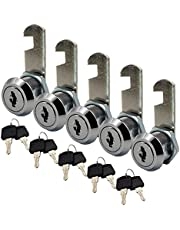"5 Packs Purocean zinc Alloy cam Locks keyed Alike Cabinet Locks for Mailbox Camper Boat yatch Drawer with Size 16mm(5/8"")"