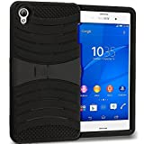 Accessory Planet(TM) Black / Black Hybrid Heavy Duty Hard/Soft Silicone Case Cover with Horizontal Stand for Sony Xperia Z3