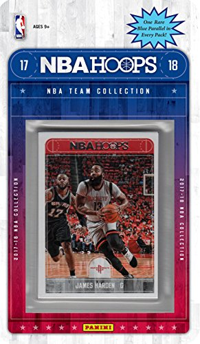 fan products of Houston Rockets 2017 2018 Hoops Basketball Factory Sealed NBA Licensed 9 Card Team Set with James Harden and Chris Paul Plus