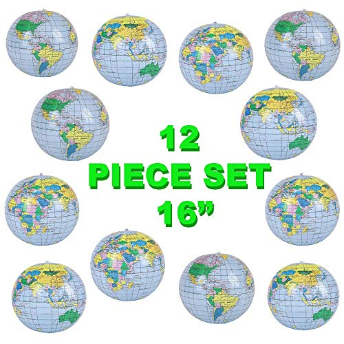 12 Pack of Inflatable World Globes for Learning and Play | 16