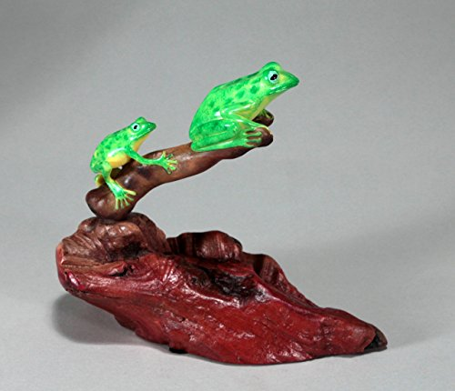 - Green Frog Duo Sculpture from John Perry Statue on Burl Wood Airbrushed