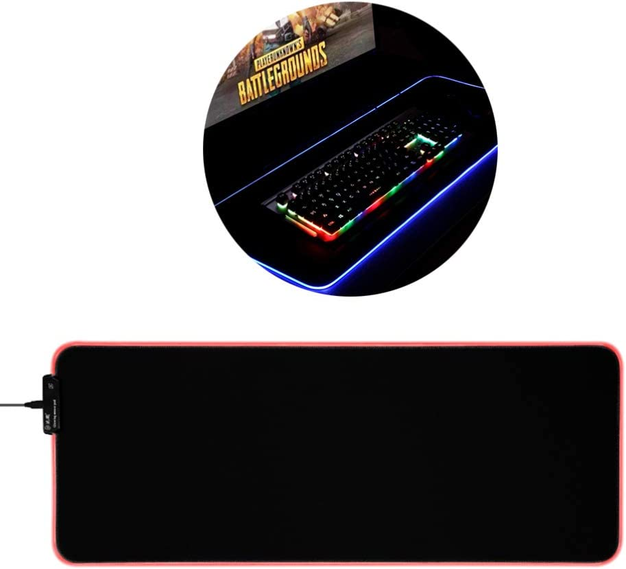 Black Mobestech LED Glowing Mouse Pads Gaming Mouse Mat Table Mat Game Mice Mat for PC Laptop Desktop Computer Size L