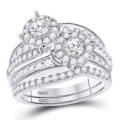 14kt White Gold Womens Round Diamond 2-Stone Bridal Wedding Engagement Ring Band Set 1-3/4 Cttw