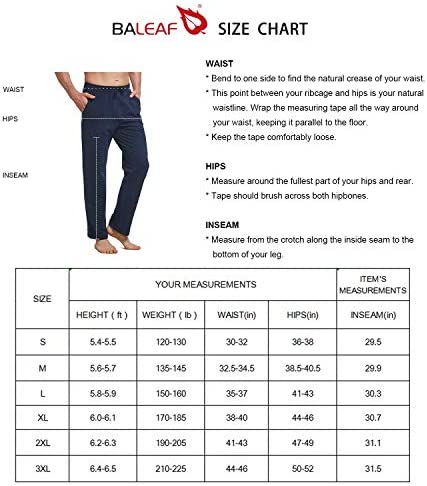 BALEAF Men's Cotton Yoga Sweatpants Open Bottom Joggers Straight Leg Running Casual Loose Fit Athletic Pants with Pockets