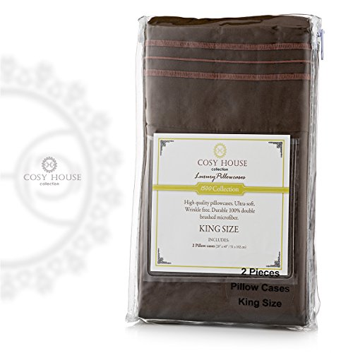 Cosy House Silky Soft Double 100% Brushed Microfiber Pillowcase Sets - 1500 Collection 2 Piece Set - Wrinkle Free and Stain Resistant Hypoallergenic Best Pillow Covers ( Chocolate, King) (Lexington Pillow)