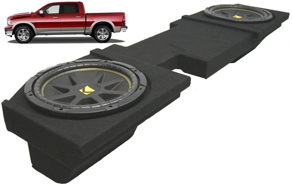 ASC Package Dodge Ram 2002-2013 Quad or Crew Cab Truck Dual 10'' Kicker C10 Subwoofer Sub Box Enclosure 600 Watts Peak