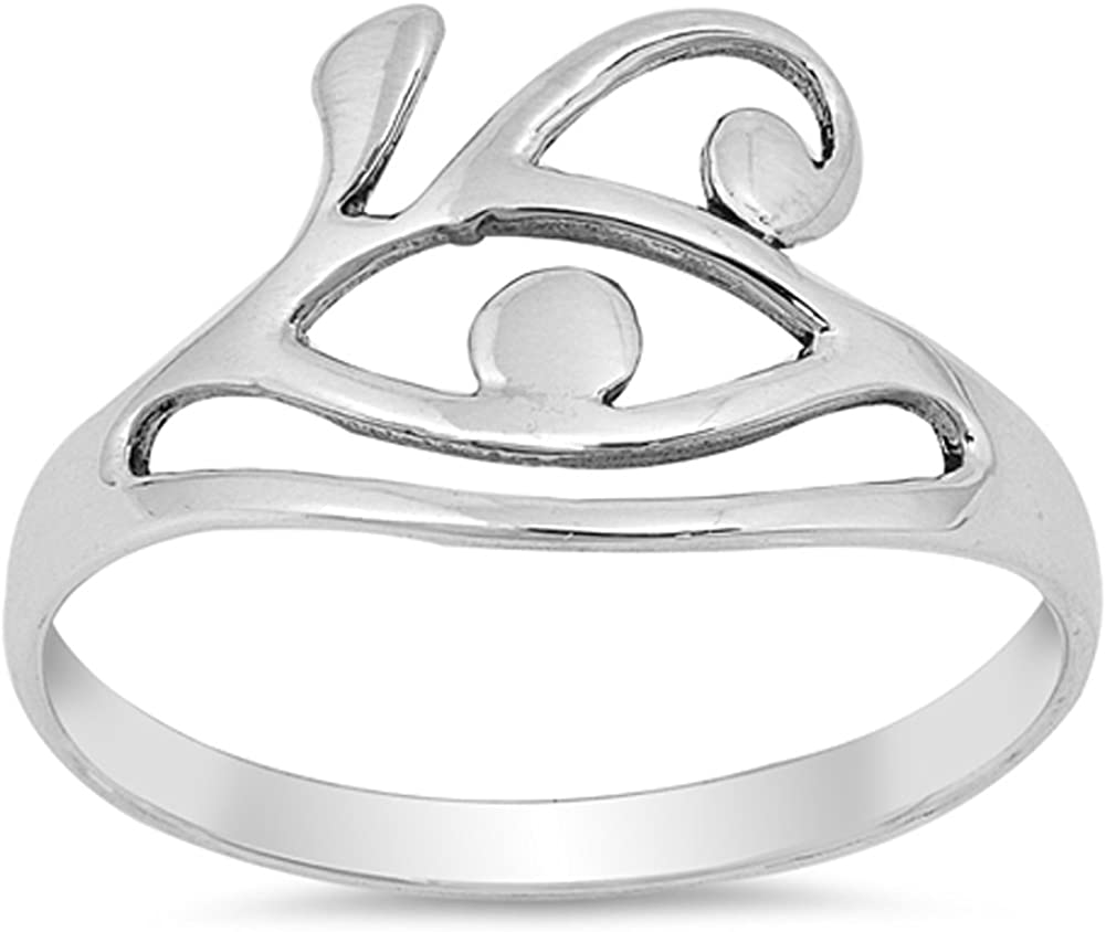 Abstract Statement Evil Eye Loop Ring New .925 Sterling Silver Band Sizes 4-10