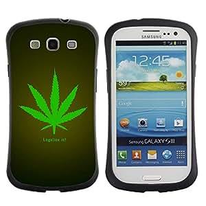 Fuerte Suave TPU GEL Caso Carcasa de Protección Funda para Samsung Galaxy S3 I9300 / Business Style Legalize Cannabis Hemp Weed Green Herbal