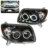 SPPC Black Projector Headlights Assembly Set with CCFL Halo For Toyota 4 Runner - (Pair) Driver Left and Passenger Right Side Replacement Headlamp