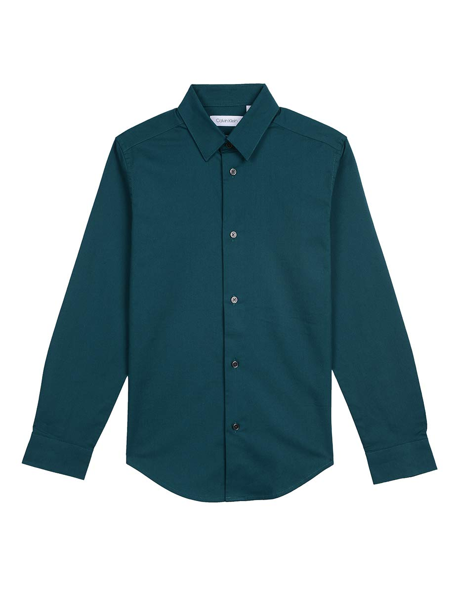 Calvin Klein Big Boys' Long Sleeve Solid Button-Down Dress Shirt, Green Jewel, 16