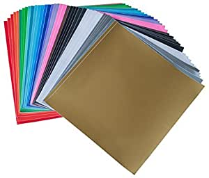 """iImagine Vinyl 40-Sheets of Premium Permanent Self Adhesive Vinyl Sheets, 12"""" x 12"""", Assorted Colors (Glossy, Matte and Metallic) for Craft Cutters, Cricut, Silhouette Cameo Machines"""