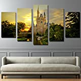 PEACOCK JEWELS [LARGE] Premium Quality Canvas Printed Wall Art Poster 5 Pieces / 5 Pannel Wall Decor Cinderella castle Painting, Home Decor Pictures - Stretched