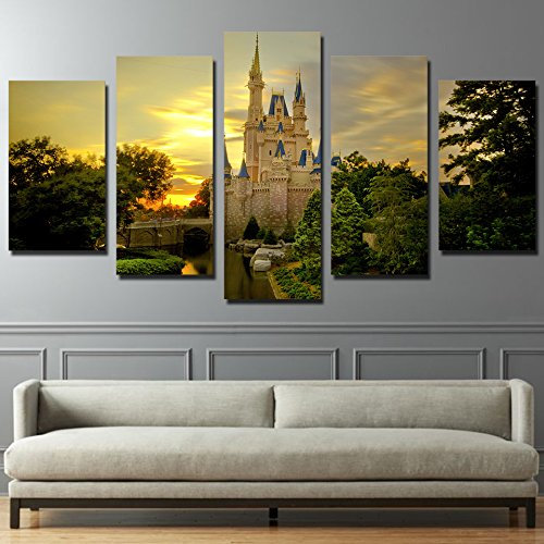 [Medium] Premium Quality Canvas Printed Wall Art Poster 5 Pieces / 5 Pannel Wall Decor Cinderella castle Painting, Home Decor Pictures - With Wooden (Castle Canvas Art)