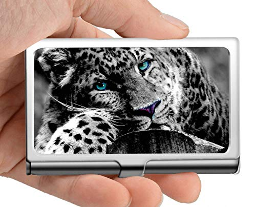 Business Name Card Holder,Leopard Animal Wildcat Zoo Stainless Steel Card Holder Card Case Excellent Design for Men and Women ()