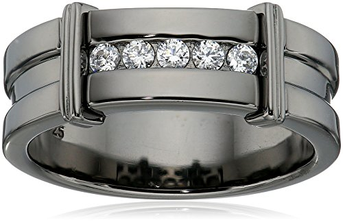 Amazon CollectionMen's Black Rhodium-Plated Sterling Silver Swarovski Zirconia 5-Stone Round-Cut Band Ring, Size 10