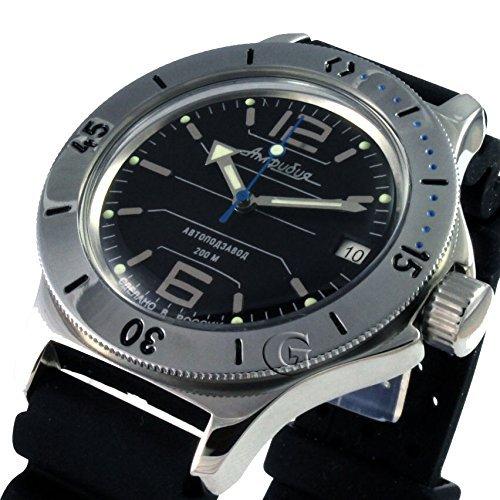 Auto Diver Watch (Vostok Amphibian New 120695 / 2416b Russian Military Watch Auto Divers 200m Black)