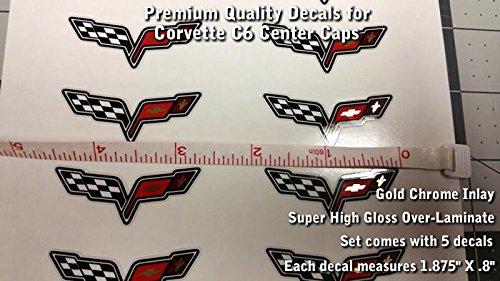 High Performance Vinyl Graphics LLC Corvette C6 Z06 Wheel Center Cap Set of 5 Decals Super Glossy 1 7/8