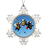 Xixitly Personalised Christmas Tree Decoration Hot Air Balloon Bees - NM Festival Pins Balloon Photo Frame Snowflake Ornament