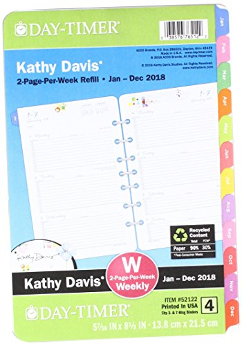 Day-Timer Two Page Per Week Planner Refill, January 2018 - December 2018, 5-1/2