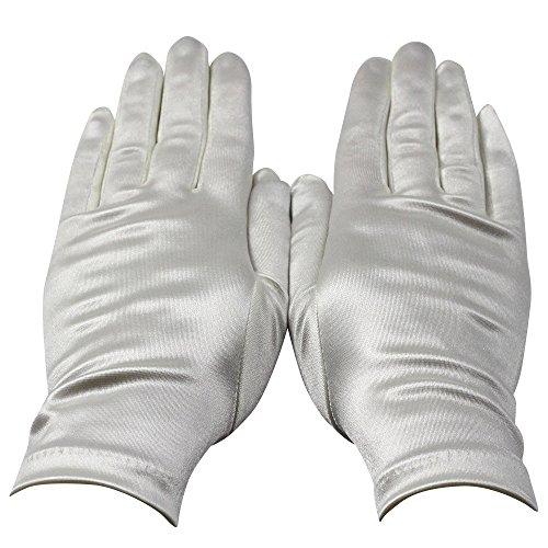Gants blancs en satin, taille unique pour femme.