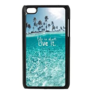 iPod Touch 4 Case Black Wonderful Clear Ocean Beach Life Is About Live It JNR2141800