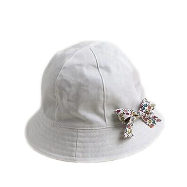 1516c2e2d79 Chapeau Bob De Soleil Bébé Enfant Fille Coton Noeud Papillon Blanc ...
