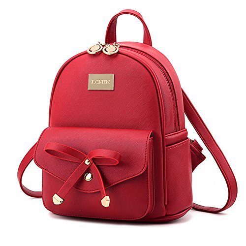 Cute Mini Leather Backpack Fashion Small Daypacks Purse for Girls and - Red Backpack Purse