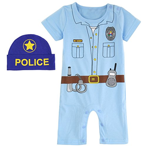 Costume Ideas Cop Halloween (Mombebe Baby Boys' Cop Costume Romper with Hat (0-6 Months,)